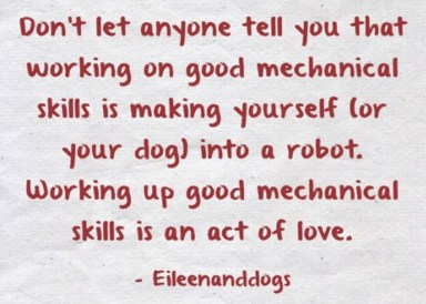 "Poster: ""Don't let anyone tell you that working on good mechanical skills is making yoerself (or your dog) into a robot. Working up good mechanical skills is an act of love."