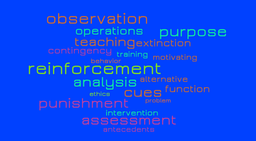 word cloud for functional assessment terms like reinforcement punishment observation