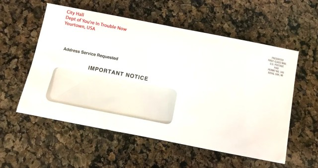 White window envelope from City Hall. Is receiving this in the mail punishment?