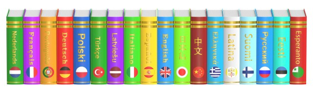 A row of brightly colored language books for translations