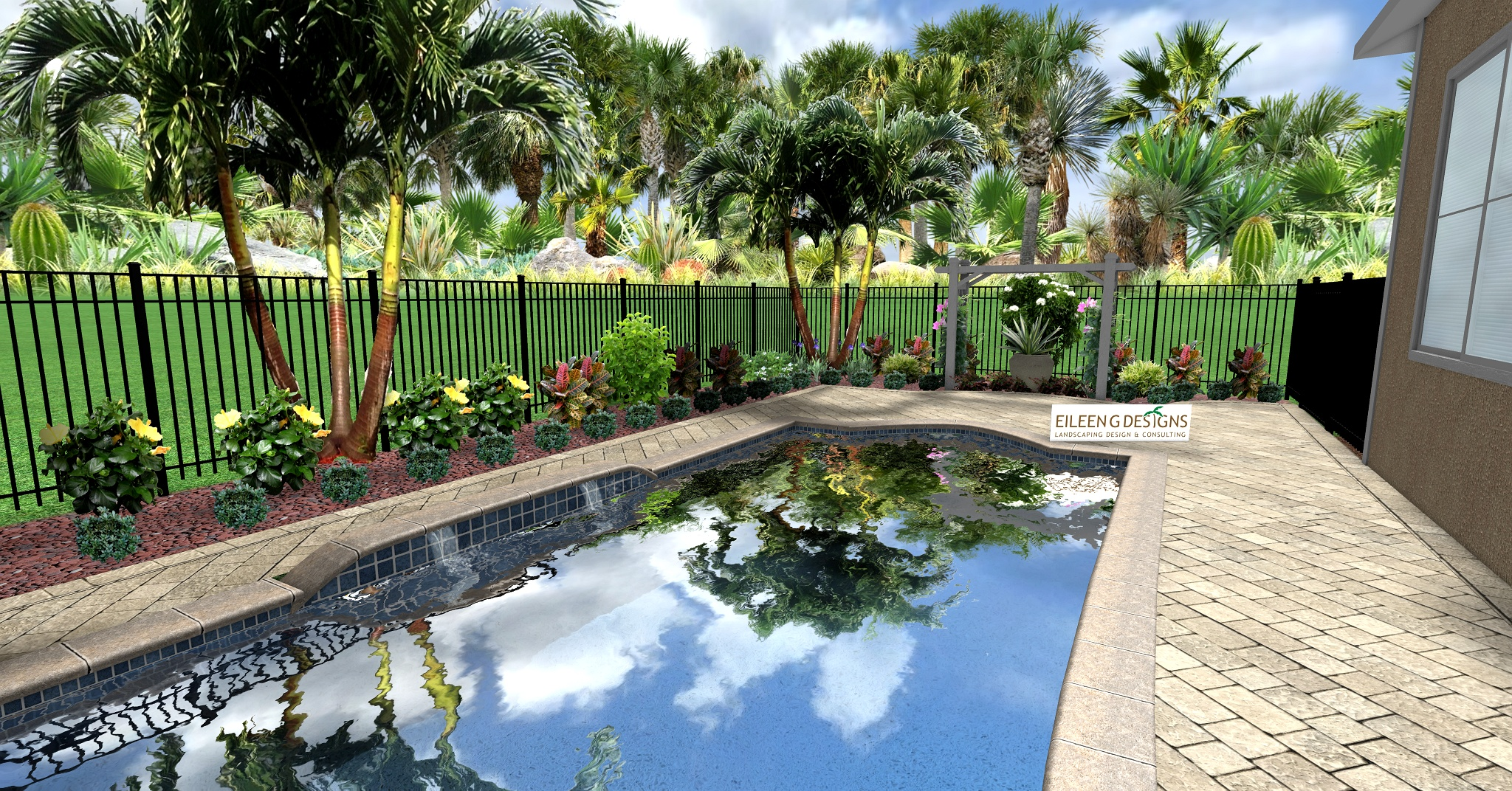TROPICAL LANDSCAPING AND PAVER DECK FOR SMALL POOL AREA ... on Backyard Pool Landscape Designs id=76071