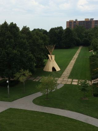 Tipis were placed in the gardens as part of the 2014 exhibit The Plains - Indians: Artists of Earth and Sky