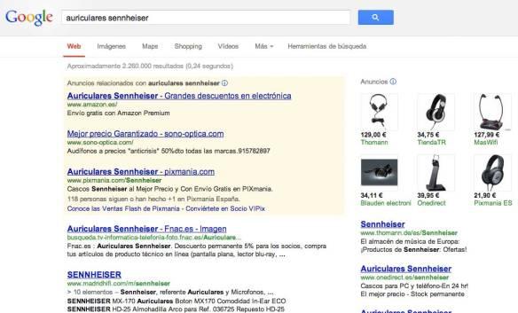 AdWords promocionados por Google