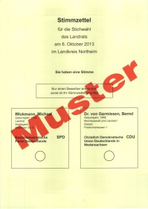 Musterstimmzettel für die Stichwahl am 6. Oktober.