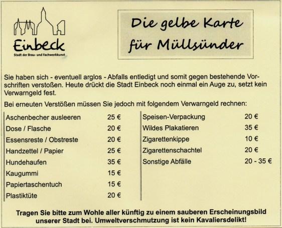So sieht die neue Gelbe Karte für Müllsünder der Stadt Einbeck aus.