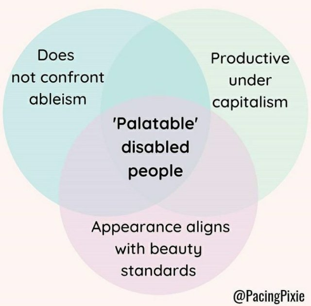 3 Kreise, die sich alle überschneiden und 4 Flächen ergeben1. Does not confront ableism2. Productive under capitalism3. Appearance aligns with beauty standardsergibt 4. Palatable disabled people
