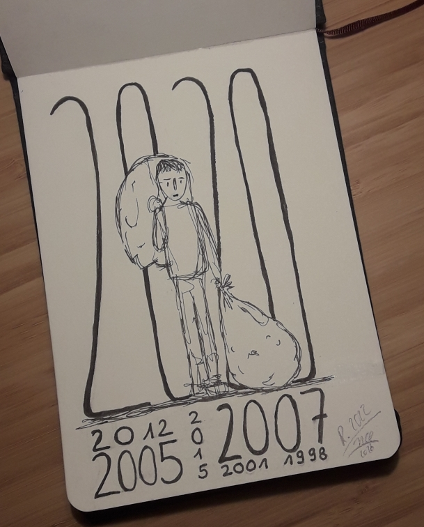 """Eine schwarz-weiße Zeichnung, einer Person mit einem Sack auf dem Rücken und einem festgehalten mit der linken Hand neben sich am Fuß liegend. Dahinter größer als die Person steht die Zahl 2020, darunter verschachtelt angeordnet die Zahlen 2012, 2015, 2007, 2005, 1998 und mit Bleistift die Signatur """"R. 2020"""" HCR2020"""