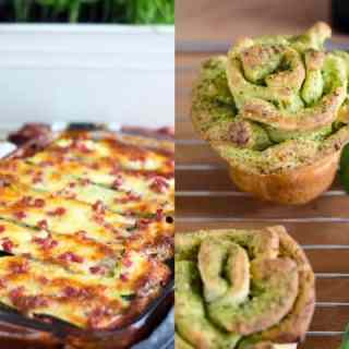 Zoodle Lasagne und Pull-apart-breadflowers