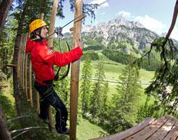Kletterparcours im Waldseilgarten fuer 2