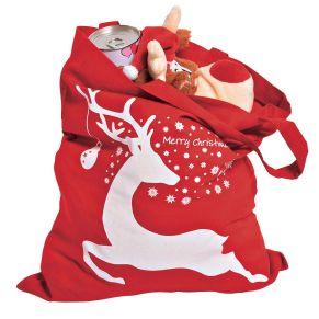 Rote Baumwolltasche bedruckt mit einem weihnachtlichen Motiv. Maße: ca. 22 x 26 cm, Material: 100% Baumwolle.<br>