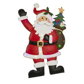 Deko-Leuchte in Form eines Weihnachtsmannes. Nur für den Innenbereich geeignet. Mit 18 bunten LEDs und Blinkeffekt, Boden-aufsteller mit hinterer Stütze, nur für den Innenbereich geeignet, Batterien: 2 x 1,5 Mignon, AA, nicht inkl., Maße: ca. L60 x B35 x H90 cm, Gewicht: ca. 2,3 kg, Material: Metall.<br>