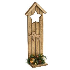 Eine außergewöhnliche Weihnachtsdekoration für Türgriffe, aber auch individuell andekorierbar. Mit Batteriefach, Batterien: 2 x CR2032 (inklusive), Maße: ca. B11 x T6,5 x H30,5 cm, Material: Holz, Kunststoff.<br>