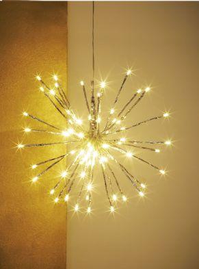 Besonders dekorative LED Leuchte mit 40 biegsamen Streben und 80 LEDs (warm-weiß). Wirft ein schönes Licht durch die 40 Streben mit je zwei LEDs , für den innen - und außenbereich geeignet, Netzadapter: Konturen Stecker, Gewicht: ca. 0,36 kg, Material: Metallfolie, Kunststoff.<br>