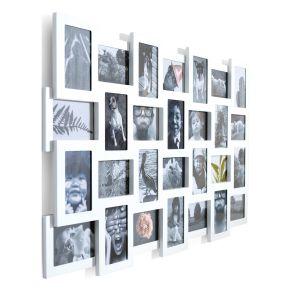 28 Lieblingsfotos lassen sich in diesem Rahmen problemlos arrangieren. Kann sowohl im Quer- als auch im Hochformat aufgehängt werden, für Fotos mit dem Maß 10 x 15 cm geeignet, Maße: ca. B104 x T3 x H62 cm, Gewicht: ca. 8,2 kg, Material: Acrylglas, MDF.<br>