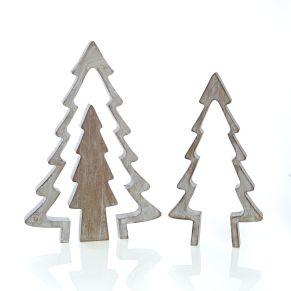 Indidviduell lassen sich diese drei Tannenbaum Elemente aufstellen und zusammenfügen. Maße: ca. L21,5 x T2,5 x H30,5 cm, Gewicht: ca. 0,6 kg, Material: MDF.<br>