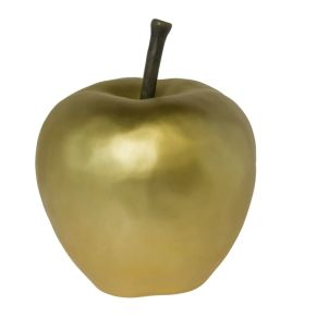 Modernes Deko-Objekt in Form eines goldenen Apfels. In mattem Gold, Maße: ca. 37 cm hoch, 27 cm Ø, Gewicht: ca. 3,4 kg, Material: Polyresin.<br>