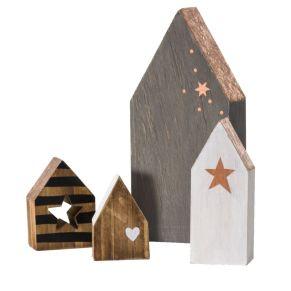 Diese kleinen Häuser eignen sich gut, um ein kleines, verträumtes Dorf anzudekorieren. Maße: je ca. 6-17 cm hoch, Gewicht: ca. 0,5 kg, Material: MDF.<br>
