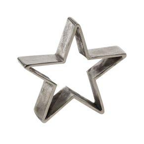 Moderne Deko-Sterne aus Aluminium. Ideal geeignet für die Schaufensterdekoration, Maße: Klein ca. B22,5 x T5 x H22,5 cm, groß ca. B26 x T5 x H26 cm, Gewicht: ca. 0,8 kg, Material: Aluminium.<br>