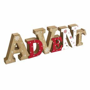 Mit diesem hübschen Schriftzug zum Stellen wird die Adventszeit perfekt eingeläutet. Frontseite mit winterlichen Motiven versehen, Maße: ca. L40 x H11,5 x T2,5 cm, Gewicht: ca. 0,6 kg, Material: Holz/ MDF.<br>