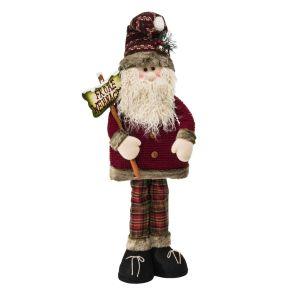 Die niedliche Dekofigur in Maxigröße bringt Schwung in jede Weihnachtsdekoration. Mit Kunstfellbesatz und langem Rauschebart, Maße: ca. B50 x T20 x H110 cm, Gewicht: ca. 2,9 kg, Material: Polyester, Baumwolle, Holz.<br>