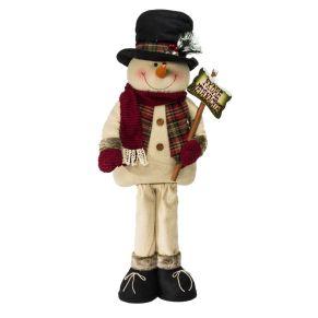 Die niedliche Dekofigur in Maxigröße bringt Schwung in jede Weihnachtsdekoration. Mit Kunstfellbesatz, Wollschal und Fäustlingen, Maße: ca. B50 x T20 x H110 cm, Gewicht: ca. 2,3 kg, Material: Polyester, Baumwolle, Holz.<br>