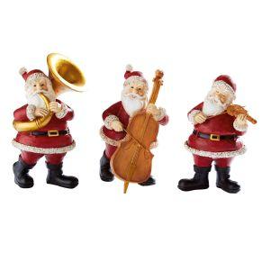 Dekofiguren-Set musizierende Santas, 3 tlg. Maße: Santa mit Violine ca. B9 x T7 x H 3 cm, Santa mit Tuba ca. B9 x T8 x H14 cm, Santa mit Kontrabass ca B9 x T8,5 x H13 cm, Gewicht: ca. 0,7 kg, Material: Polyresin (Kunststein).<br>