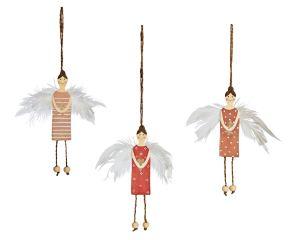 Mit zarten Federflügeln geschmückt sind diese Engel ein schöner Hingucker. Zum Hängen, Maße: ca. H15 cm, Material: Schichtholz, Federn.<br>