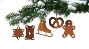 Verschönert die Weihnachtsdekoration mit kleinen, weihnachtlichen Leckereien im Rostfinish. Maße: je ca. 6 cm hoch, Material: Metall.<br>