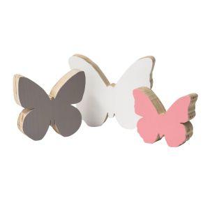 Schmetterlingsset in wunderschön aufeinander abgestimmten Farben. Drei Schmetterlinge in unterschiedlicher Größe, Maße: weiß ca. B17 x T3 x H15 cm, taupe ca. B14 x T3 x H13 cm, rose ca. B12 x T3 x H10 cm, Gewicht: ca. 0,4 kg, Material: Pinienholz.<br>