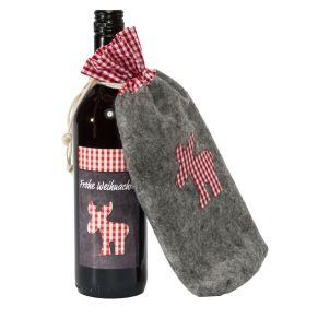 Der Weihnachtsbeutel ist aus Filz. Eine 0,75l Flasche 2014er Vin de Pays Rotwein, Gewicht: ca. 1,3 kg. Zutaten: Red Wine, 0,75l: Rotwein, 10,5% vol.. Allergiehinweis: Enthält Sulfite<br>