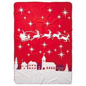 Super-kuschelige Fleecedecke mit stimmungsvollem Weihnachtsmotiv. Maße: ca. 130 x 180 cm, Gewicht: ca. 0,4 kg, Material: 100% Polyester.<br>