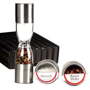 Elegante Salz- und Pfeffermühle in schwarzem Präsentcase. Hochwertige Keramik-Mahlwerke mit Verschlusskappen , inklusive zwei hochwertigen Dosen mit 50 g buntem Pfeffer und 100 g Meersalz, zum sofortigen Befüllen, Material: Edelstahl. Zutaten: Meersalz, bunter Pfeffer, rote Beeren.<br>