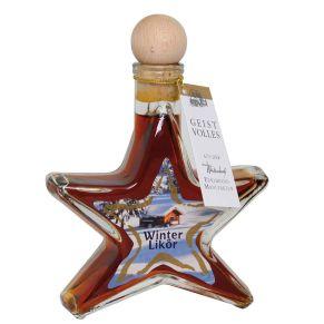 Eine schöne Glasflasche in Form eines Sternes verschlossen mit einem Holzgriffkorken in Kugelform und gefüllt mit 100 ml Lebkuchen-Likör 20%. Maße: ca. L11 x B4 x H16 cm.<br>