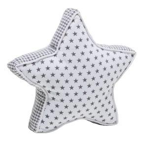 Niedliche Kissen in Sternenform mit Sternchendessin. Maße: ca. 10 cm dick, 43 cm Ø, Gewicht: ca. 0,5 kg, Material: 100% Baumwolle, Füllung: 100% Polyester.<br>