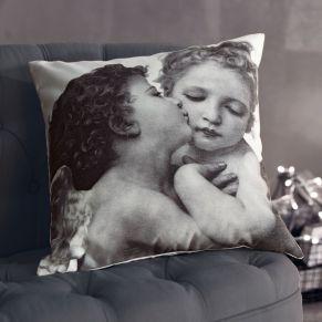 Bedruckte Canvas Kissenhülle mit niedlichem Engel-Pärchen. Maße: ca. 40 x 40 cm, Material: 100% Baumwolle.<br>