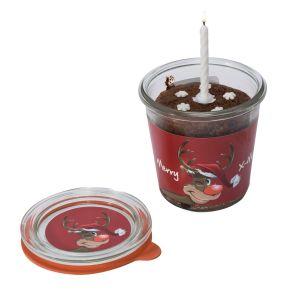 Der Schokoladenkuchen im 290ml Weckglas (Nettoinhalt 130g). Jederzeit verzehrbereit: Einfach aufziehen, portionieren und genießen. Inklusive Kerze und Schneeflockenstreuern, Maße: Glas ca. 9 cm hoch, 8,7 cm Ø, Gewicht: ca. 0,4 kg. Zutaten: WEIZENMEHL, BUTTER, Rohrzucker, EIER, SCHOKOLADE, Vanille, Reinweinsteinbackpulver, Salz. Nährwertangaben: Brennwert 1824,6 kJ (434,41 kcal); Fett 68,5g, davon gesättigte Fettsäuren 13,56; Kohlenhydrate 43,35g, davon Zucker 7,11g; Eiweiß 0,15g; Salz 0g. Allergiehinweis: Kann Spuren von Eiern, Milch, Nüssen und Schalenfrüchten enthalten.<br>