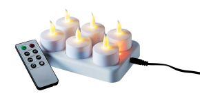 Praktisches LED-Teelichter-Set mit Flackerlicht. Inklusive Ladestation, Fernbedienung und Timer-Funktion, Maße: ca. B14,5x T9,5x H6,5 cm, Kabellänge 165 cm, Teelichter ca. H 4,5 cm x 4 cm Ø, Gewicht: ca. 0,35 kg, Material: Kunststoff, LED.<br>