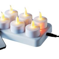 LED-Teelichter-Set, 8-tlg., Flackerlicht, Kunststoff, LED