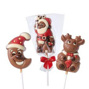 Dieses süße Set besteht aus einem Mond-, einem Elch- und einem Weihnachtsmann-Lolli (je ca. 35g) aus Schokolade. Einzeln in einem Zellglasbeutel mit einer roten Schleife verpackt, Maße: ca. B5 x H6 cm (ohne Stiel). Zutaten: Zucker, Kakaobutter, VOLLMILCHPULVER (17,5%), Kakaomasse, SAHNEPULVER, Emulgator: Lecithine (SOJA); Farbstoff in der Dekormasse: E120, E160c. Nährwertangaben: Energie 2428 kJ (583 kcal); Fett 38g, davon gesättigte Fettsäuren 23g; Kohlenhydrate 52g, davon Zucker 52g; Eiweiß 6,2g; Salz 0,18g. Allergiehinweis: Kann Spuren von Haselnüssen und Mandeln enthalten.<br>