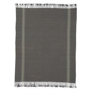Weiche Decke in einem used wirkenden Blauton, mit drei Streifen in hellerem Blau und Fransen. Waschempfehlung: 30 °C Maschinenwäsche, Maße: ca. L170 x B130 cm, Gewicht: ca. 0,8 kg, Material: Baumwolle.<br>