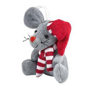 Süße kleine Plüsch Maus mit roter Knollnase, rot- weiß gestreifter Mütze und Schal. Maße: ca. 5 x 5 x 7 cm, Material: 100% Polyester.<br>
