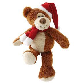 Lustiger, kleiner Teddy, den man gerne verschenkt. Körnerfüllung im Gesäß, Maße: ca. 15 cm hoch, Material: 100% Polyester.<br>