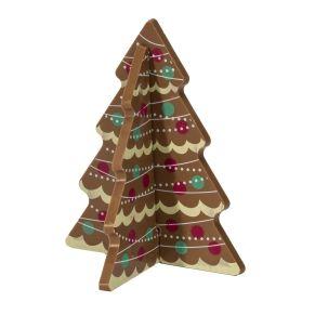 115g edle Vollmilchschokolade in Form eines Tannenbaumes oder Rentieres. In wenigen Schritten zu einer stehenden Figur zusammengesteckt, verpackt im schwarzen Blister aus Kunststoff und Klarsichtdeckel, Edelvollmilch-Schokolade (Kakao: 36% mindestens), dekoriert, Gewicht: ca. 0,3 kg. Zutaten: Zucker, Kakaobutter, VOLLMILCHPULVER (17,5%), Kakaomasse, SAHNEPULVER, Emulgator: SOJALECITHIN, Farbstoff in der Dekormasse: E120, E153, E171, E172. Nährwertangaben: Energie 2428 kJ / 583 kcal, Fett 38,0 g, davon gesättigte Fettsäuren 23,0 g, Kohlenhydrate 52,0 g, davon Zucker 52,0 g, Eiweiß 6,2 g, Salz 0,18 g. Allergiehinweis: Kann Spuren von Haselnüssen und Mandeln enthalten<br>