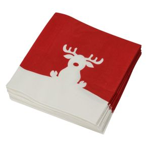 Das Highlight bei der Tischdekoration sind diese Servietten mit dem niedlichen Elch. Maße: je ca. 33 x 33 cm, Material: Papier, 3-lagig.<br>