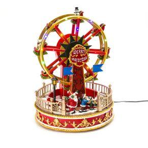 Nostalgisch anmutende Riesenrad-Spieluhr mit bunten LED Lichtern sowie 8 bekannten Weihnachtsliedern. Mit Netzadapter (Euroflachstecker), die Spieluhr dreht sich - wie ein nostalgisches Karussell., spielt 8 verschiedene Weihnachtslieder, die Musik kann ausgestellt werden, 1/ Jingle Bell, 2/ We wish you a Merry Christmas, 3/ Silent Night, 4/ Deck the Halls, 5/ Joy to the world, 6/ The first Noel , 7/ Hark! The Heard Angel sing , 8/ Oh, Christmas Tree, Maße: ca. Ø 22,5 x H28,5 cm, Gewicht: ca. 2 kg, Material: Polyresin.<br>