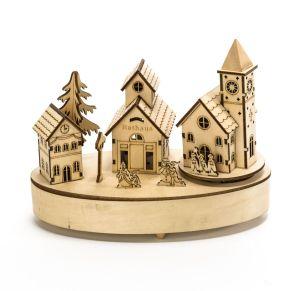 Diese hübsche Spieluhr aus Holz spielt Stille Nacht und die Kirche dreht sich dazu. Nur für den Innenbereich geeignet. Mit Batteriebetrieb, nur für den Innenbereich geeignet, Batterien: 2 x 1,5V Mignon AA (nicht im Lieferumfang enthalten), Maße: ca. B22 x T11 x H17 cm, Gewicht: ca. 0,3 kg.<br>