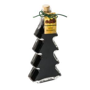 Die tannenbaumförmige Glasflasche mit Korken beinhaltet 200 ml Aceto Balsamico. Gewicht: ca. 0,7 kg. Zutaten: Gärungsessig aus Traubenmost, mit 6%iger Säure, biologisch gewonnen. Nährwertangaben: Durchschnittliche Nährwerte pro 100ml: Energie 410 kJ / 87 kcal, Fett 0,0g, davon gesättigte Fettsäuren 0,0g; Kohlehydrate 17,0g, davon Zucker 15,0g; Eiweiß 0,5g; Salz 0,0g.<br>