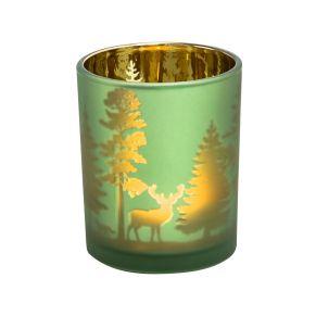 Moderner Teelichthalter mit einer edlen Beschichtung und goldfarbener Wald-Silhouette. Maße: ca. H7,5 x D6 cm, Material: Glas.<br>