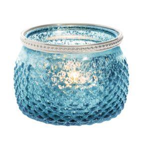 Eleganter Teelichthalter. Maße: ca. Ø 11 x H8 cm, Gewicht: ca. 0,26 kg, Material: Glas.<br>