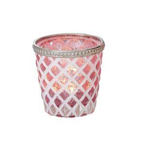 Eleganter Teelichthalter. Maße: ca. Ø 8 x H8 cm, Gewicht: ca. 0,25 kg, Material: Glas.<br>